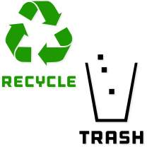 Recycle and Trash Stickers Modern Logo (1 ea) Symbol to Organize Trash cans or Garbage containers and Walls - Vinyl Decal Sticker (Small - 5.5x5.5, Reversed - Green/Black)