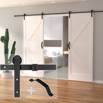 skysen 10FT Double Door Sliding Barn Door Hardware Track Kit -Heavy Duty-Black(I Shape)