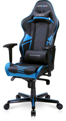 DXRacer Computer Chair Adjustable Ergonomic Office Reclining Swivel Video Game Seat for Adults, Teen Gamers and Streamers, Racing Series RV131, Black & Blue