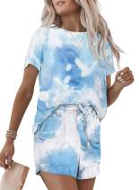 Becaut Women's Tie Dye Casual Outfits Crewneck Short Sleeve 2 Piece Short Set Pajamas Set