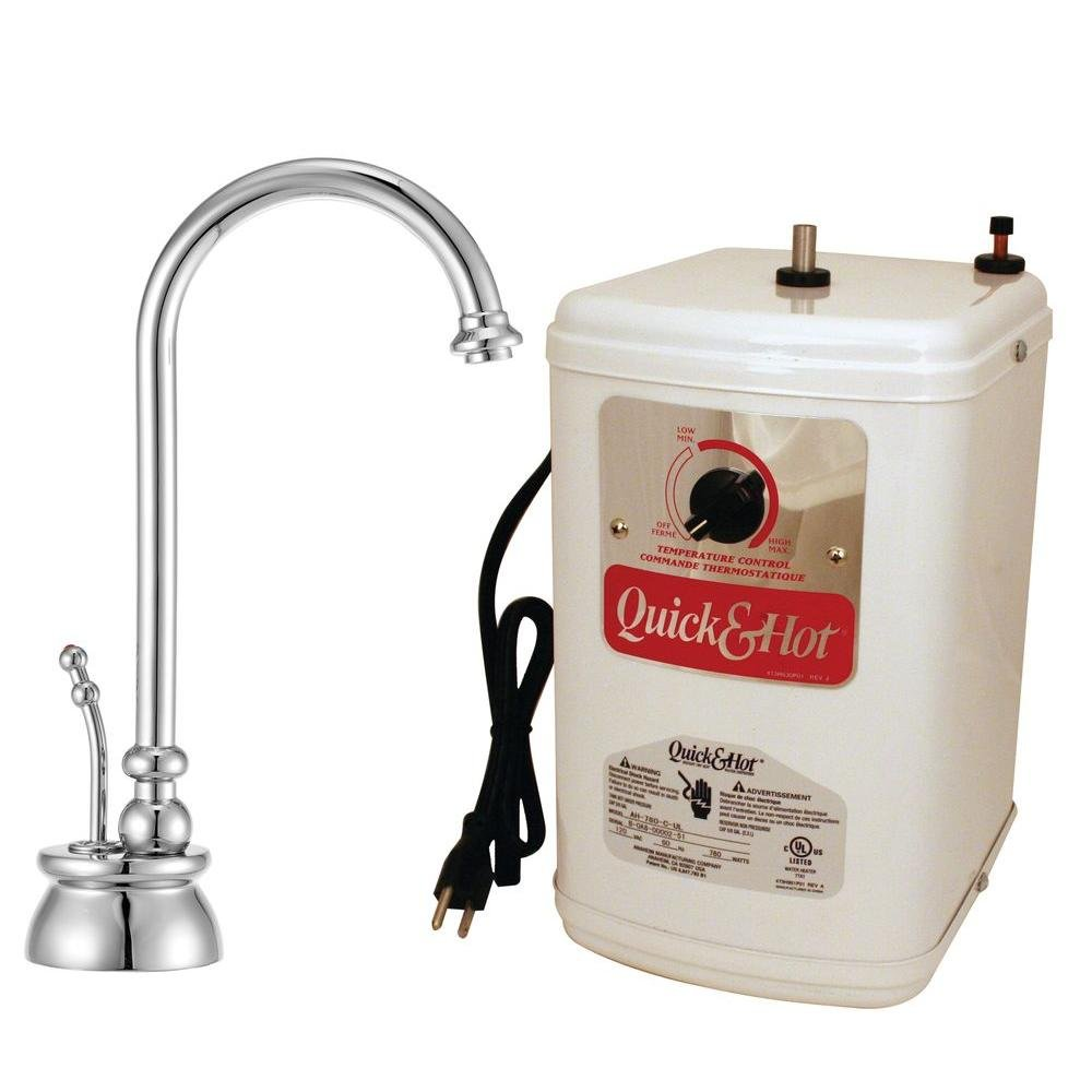Westbrass D261H-26 Calorah Single Handle Hot Water Dispenser Faucet with Instant Hot Tank, Polished Chrome