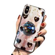 Aulzaju Case for iPhone SE 2020,iPhone 8 iPhone 7 4.7 Inch, Super Soft Crystal Rhinestone TPU Shiny Shockproof Case Fashion Beauty Grid Cover with Ring Stand for New iPhone SE2/iPhone 8/7-White