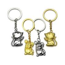 EOPER Cute Rat Key Ring Holder, 4 Pieces Couples Mouse Rat Keychains Lucky Gift Pendants, Chinese Zodiac Lucky Rat Key Bag Charm DIY Art Craft 2020 New Year Souvenir Gift Silver+Gold