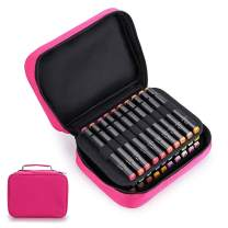 BTSKY Art Marker Carrying Case Lipstick Organizer-40 Slots Canvas Zippered Markers Storage for Copic Prismacolor Touch Spectrum Noir Paint Sharpie Markers, Empty Wallet Only (Pink)
