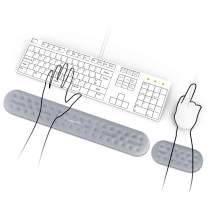 Keyboard Wrist Rest and Mouse Wrist Rest Support,Made of Memory Foam, Superfine Fibre, Ergonomic Design for Office, Home Office, Laptop, Desktop Computer, Gaming Keyboard,Gray