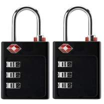 [TSA Luggage Locks] [2 Pack] 3-digit combination padlock with open alert (6 colorful stickers)