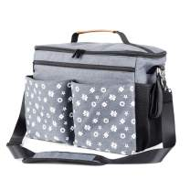 Messenger Diaper Bag, Baby Nappy Bag Weekender with Stroller Straps, 5 Big Pockets and Large Storage Space for Baby Accessories(Classic Grey)