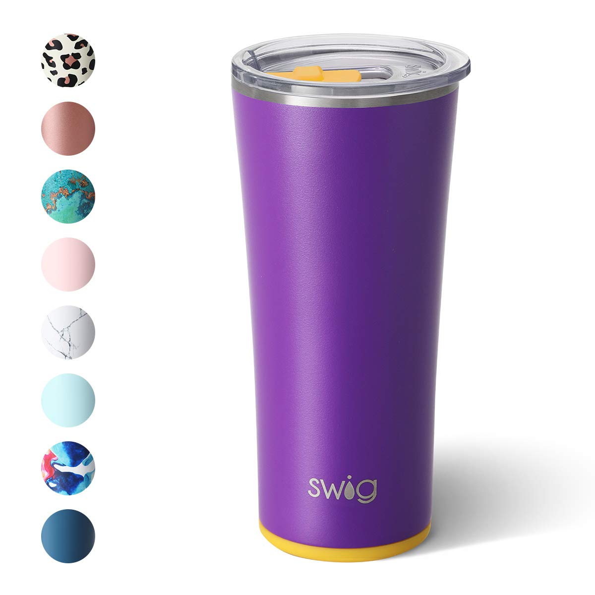 Swig Life 22oz Triple Insulated Stainless Steel Skinny Tumbler with Lid, Dishwasher Safe, Double Wall, Vacuum Sealed Travel Coffee Tumbler in Matte Purple/Yellow Print (Multiple Patterns Available)