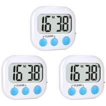 3 Pack Kitchen Timers Digital Timer for Kids Teachers Classroom Magnetic Backing Large Display Count Up and Count Down