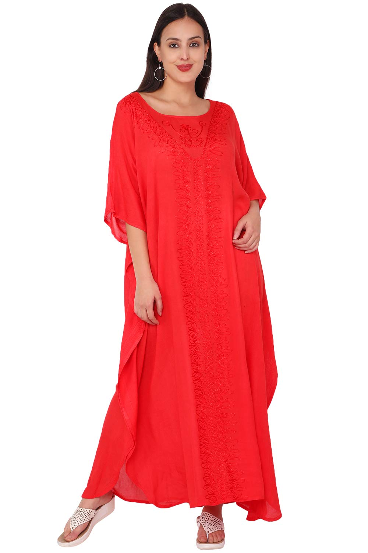 SKAVIJ Women's Tunic Rayon Embroidered Maxi Caftan Summer Dress (Free Size)