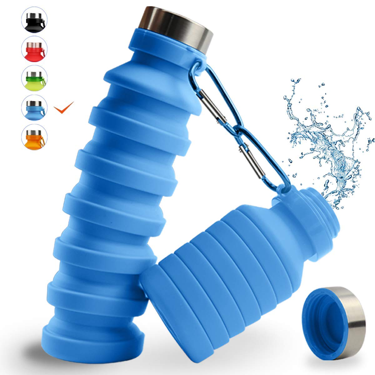 Collapsible Water Bottle, MOLYHUA 18oz(550ML) Designed for Travel and Outdoor. Foldable Sports Water Bottles for Travel Gym Camping Hiking, Portable Leak Proof - BPA Free/Lightweight/Eco-Friendly