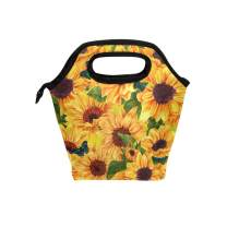 Naanle Watercolor Sunflower Insulated Zipper Lunch Bag Cooler Tote Bag for Adult Teens Kids Girls Boys Men Women, Floral Sunflower Lunch Boxes Lunchboxes Meal Prep Handbag for School Office