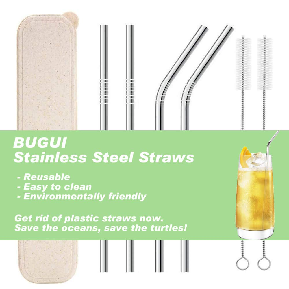 """Reusable Stainless Steel Drinking Straws with Travel Case, Set of 4 (10.5"""" Ultra Long), Fit 30 40 oz Yeti Tumbler Rumbler, Eco-Friendly Solution by Bugui. (2 Straight 