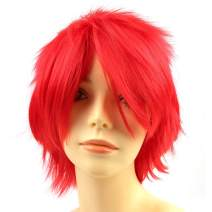 Modernfairy Anime Wig Red for Cosplay Party, Synthetic Layered Short Hair Wigs with Bangs, Pastel Wigs for Women Girls Men Kids
