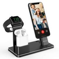 YoFeW Aluminum Alloy Charging Stand Compatible with iWatch Apple Watch Charging Stand for AirPods, iWatch Series 4/3/2/1,iPhone Xs/X Max/XR/X/8/8Plus/7/7 Plus /6S /6S Plus/iPad