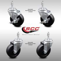 """Stainless Steel Soft Rubber Swivel Threaded Stem Caster Set of 4 w/4"""" x 1.25"""" Black Wheels and 3/8"""" Stems - Includes 2 with Top Locking Brake - 800 lbs Total Capacity - Service Caster Brand"""
