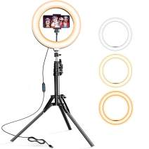 JUSTSTONE Selfie Ring Light with Tripod Stand and Phone Holder/Bluetooth Remote[3 Light Modes][Rechargeable],Adjustable Brightness Ring Light for Live Stream YouTube Video Vlog TIK Tok Photography