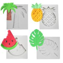 4 PCS Fruits Series Silicone Fondant Mould Tropical Fruit Turtle Leaf Watermelon Pineapple Coconut Palm Tree Candy Making Mold Cake Decorating Supplies Kit by PROKITCHEN