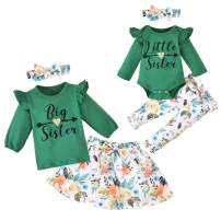 Toddler Baby Girls Sister Matching Outfits Baby Little Sister Romper Big Sister Tops + Floral Skirt Pants Clothes Set