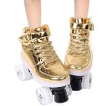 Classic Roller Skates,Women's Roller Skates High-top,Roller Skates Four-Wheel Roller Skates Shiny Roller Skates for Girls Unisex
