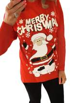 Kaei&Shi Funny Christmas Shirts for Women Santa Reindeer Print Tops Red Xmas Pullover
