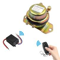 QIACHIP Car Remote Control Battery Switch Disconnect with Positive Connection Cable DC 12V Latching Relay Electromagnetic Solenoid Valve Terminal Master Kill System Anti-Theft