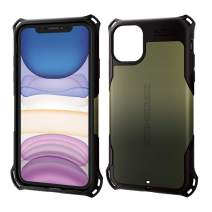ELECOM-Japan Brand- Zero Shock Case & Film/Compatible with iPhone 11 / Film Included/Full Protection/Bumper/Khaki PM-A19CZEROKH