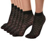 Florboom Womens Patterned Sheer Ankle Dress Socks Pantyhose Black 5 Pack
