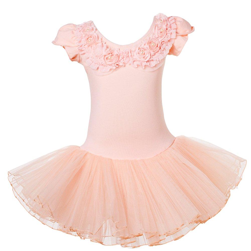 Lisianthus Girls Ballet Leotard Tutu Skirt Dancing Dress Short Sleeve