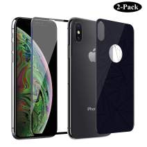 GAHOGA iPhone Xs/X Front and Back Screen Protector Full Coverage Tempered Glass + 9H Hardness Back Premium Glass Double Protection[Anti-Scratch][Case Friendly] for iPhone Xs/X