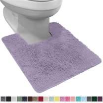Gorilla Grip Original Shaggy Chenille Square U-Shape Contoured Mat for Base of Toilet, 22.5x19.5 Size, Machine Wash Dry, Soft Plush Absorbent Contour Carpet Mats for Bathroom Toilets, Light Purple