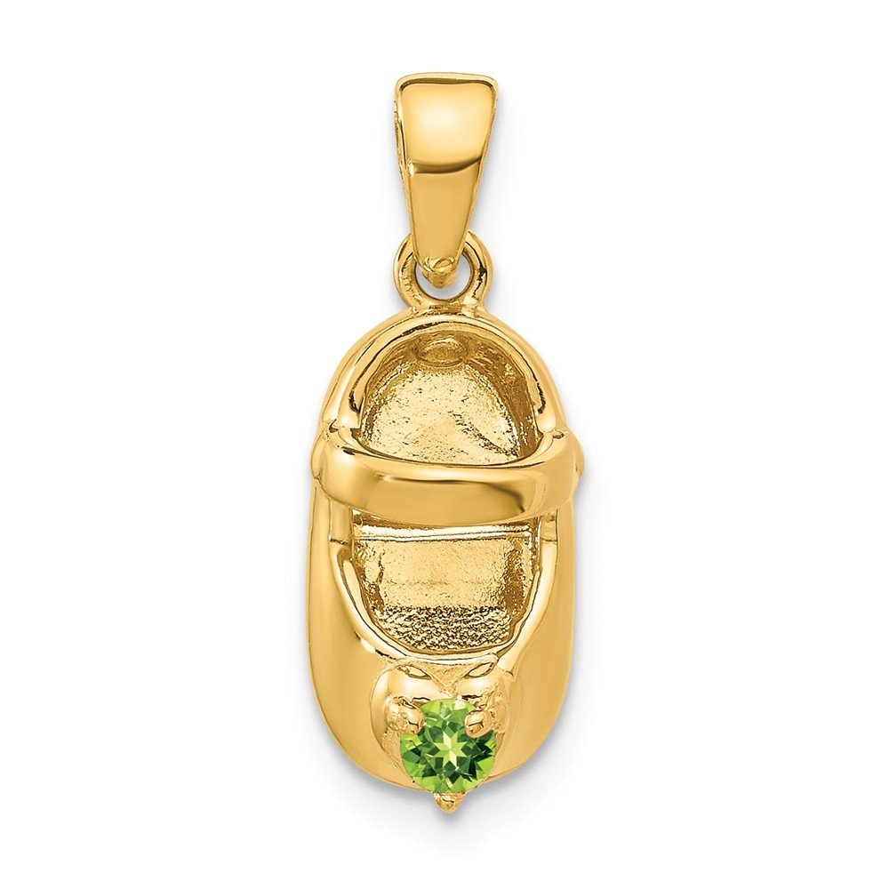 14k Yellow Gold 3 D August/synthetic Stone Engraveable Baby Shoe Pendant Charm Necklace Birthstone Fine Jewelry For Women Gifts For Her