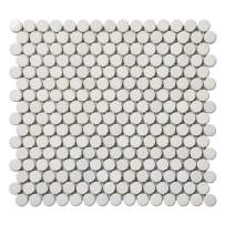 Diflart Royal White Matte 3/4 Inch Penny Round Marble Mosaic Tile Polished Pack of 5