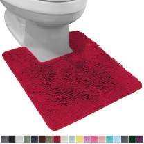 Gorilla Grip Original Shaggy Chenille Square U-Shape Contoured Mat for Base of Toilet, 22.5x19.5 Size, Machine Wash and Dry, Soft Plush Absorbent Contour Carpet Mats for Bathroom Toilets, Red