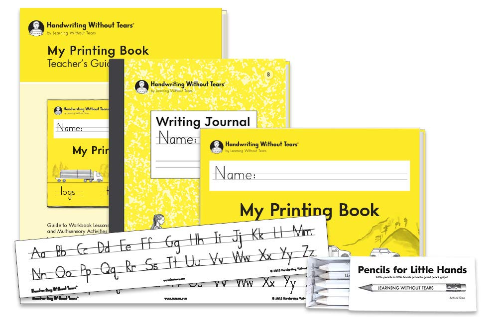 Handwriting Without Tears 1st Grade Printing Bundle - Includes My Printing Book Student Workbook, Teacher's Guide, Writing Journal B, Pencils for Small Hands