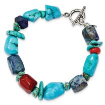 925 Sterling Silver Red Coral/howlite/lapis/turquoise Bracelet 8 Inch Gemstone Fancy Fine Jewelry For Women Gifts For Her