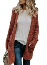 Sidefeel Women Open Front Popcon Fuzzy Knit Cardigan with Pockets