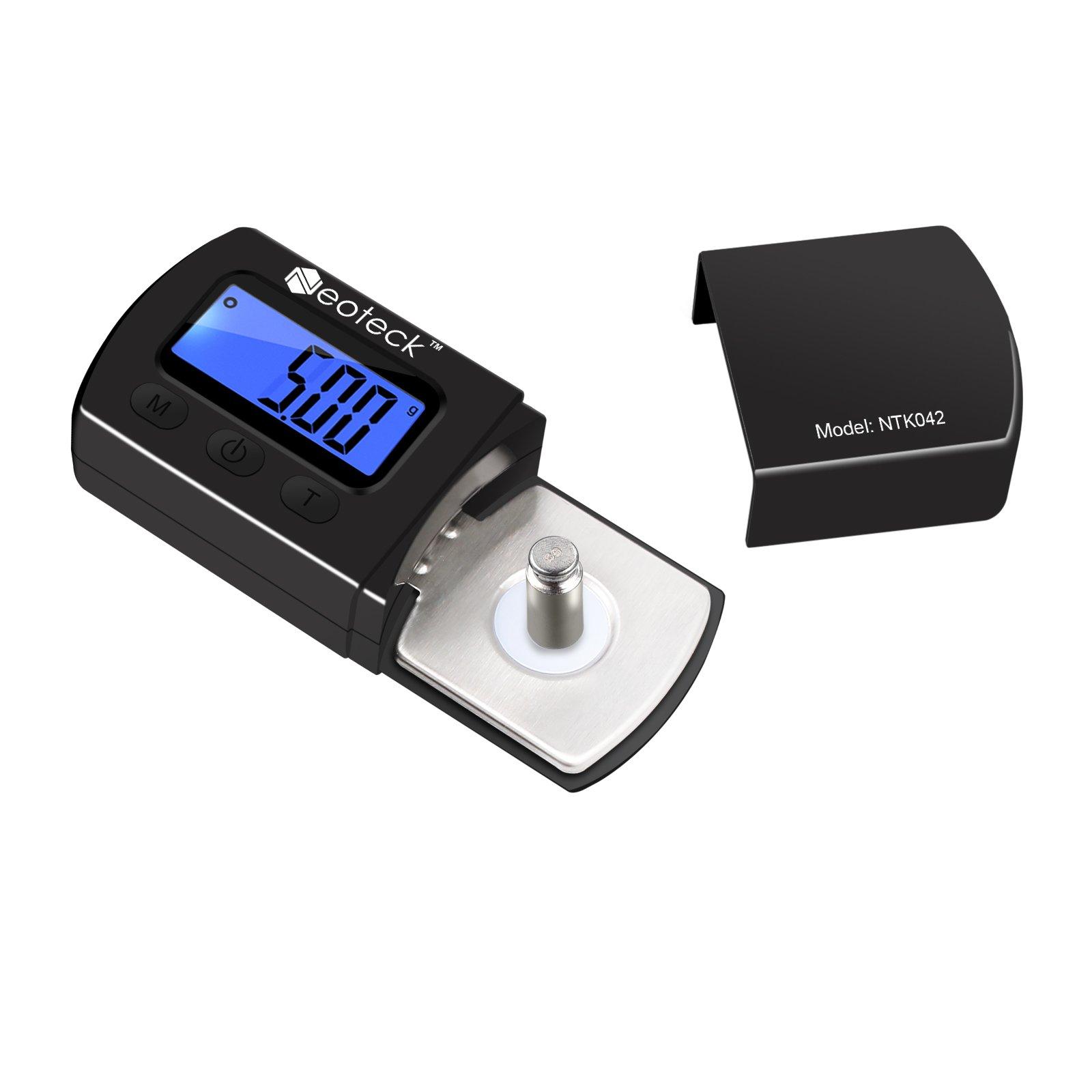 Neoteck Digital Turntable Stylus Force Scale Gauge 0.01g/5.00g Blue LCD Backlight for Tonearm Phono Cartridge-Jet Black