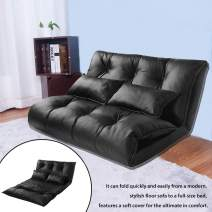 Floor Sofa Bed, Foldable Sofa Chair, Gaming Chairs for Kids, Adjustable Folding Sofa Bed Floor Sleeping Sofa with 2 Pillows (Black)
