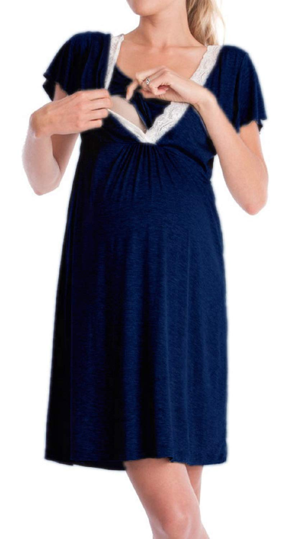 YUNAR Women Comfortable Flounce Nursing Breastfeeding Dress Gown