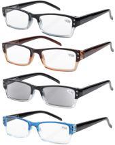 Eyekepper 4-Pack Spring Hinges Rectangular Reading Glasses Includes Sunshine Readers +0.5