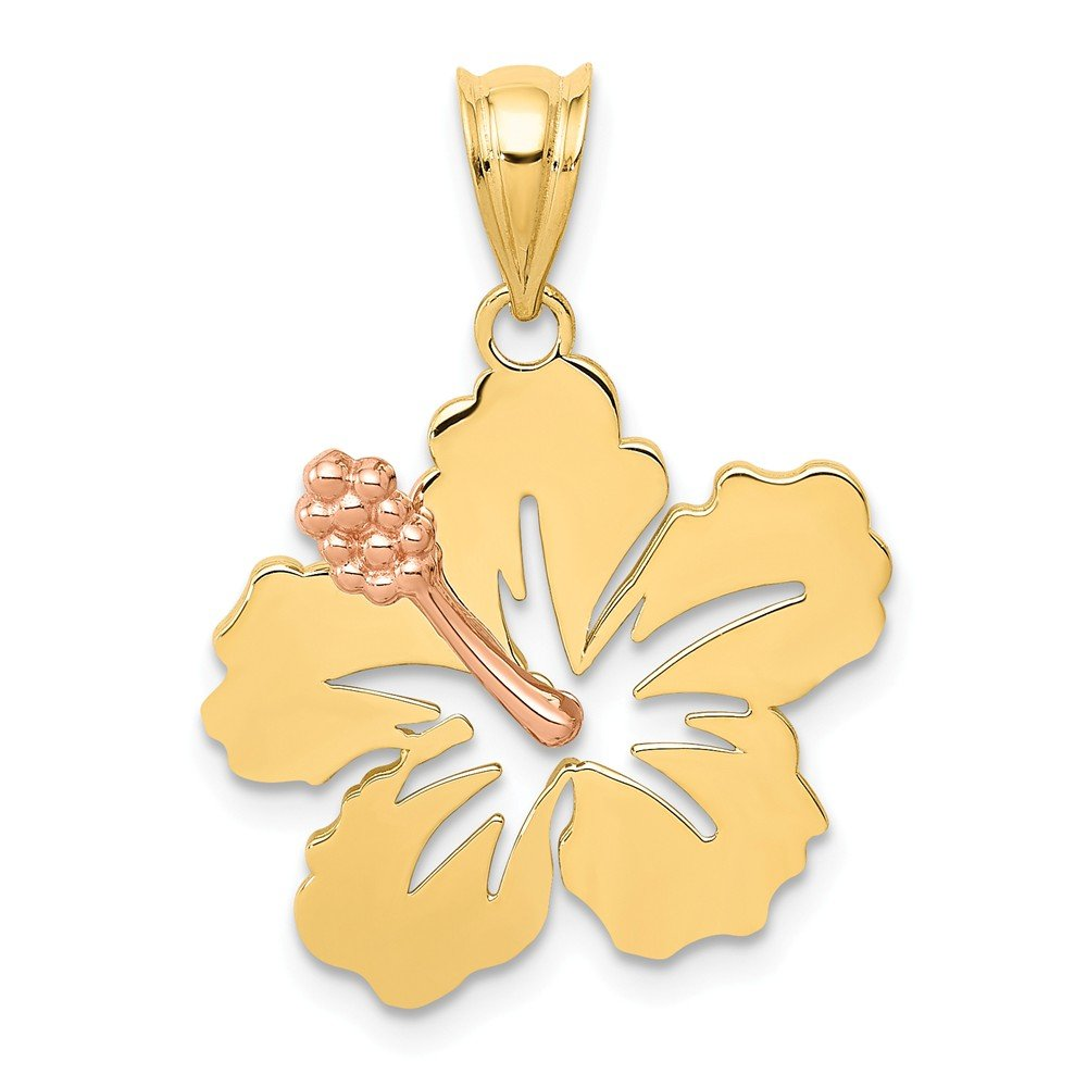 14k Yellow Rose Gold Hibiscus Flower Pendant Charm Necklace Gardening Fine Jewelry For Women Gifts For Her