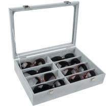 Tasybox Sunglasses Organizer Eyeglass Holder 8 Slot Eyewear Storage Box Velvet Display Case for Women and Men Grey