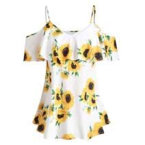 iYBUIA Women Summer Plus Size Sunflower Printed Mini T-Shirt - Short Sleeve Ruffles Cold Shoulder Blouse