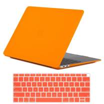 Se7enline A1932 MacBook Air 13 Inch Case 2018/2019 New Matte Frosted Plastic Hard Shell Case Cover for MacBook Air 13-Inch Retina Display with Touch ID Newest Version with Keyboard Cover, Orange