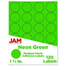 JAM PAPER Circle Label Sticker Seals - 1 2/3 Inch Diameter - Neon Green - 120 Round Labels/Pack