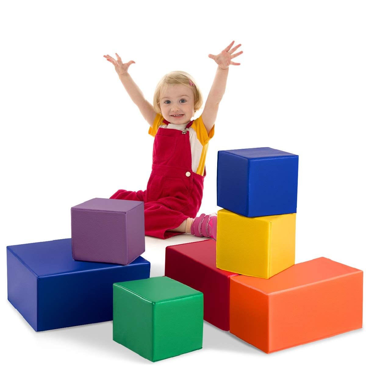Costzon Soft Blocks, Toddler Foam Block Playset for Safe Active Play and Building, Indoor Climbers Stacking Play Set Learning Toys for Toddlers, Baby, Kids and Preschooler (7-Piece, 6 Color)