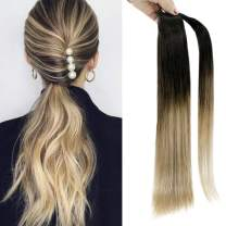 Full Shine 18 Inch Straight Wrap Around Ponytail Extensions 80 Gram Clip On Hair Ponytail Human Hair Extension Brown Fading To Blonde Balayage Pony Tails Hair Extensions For White Women Real Remy Hair