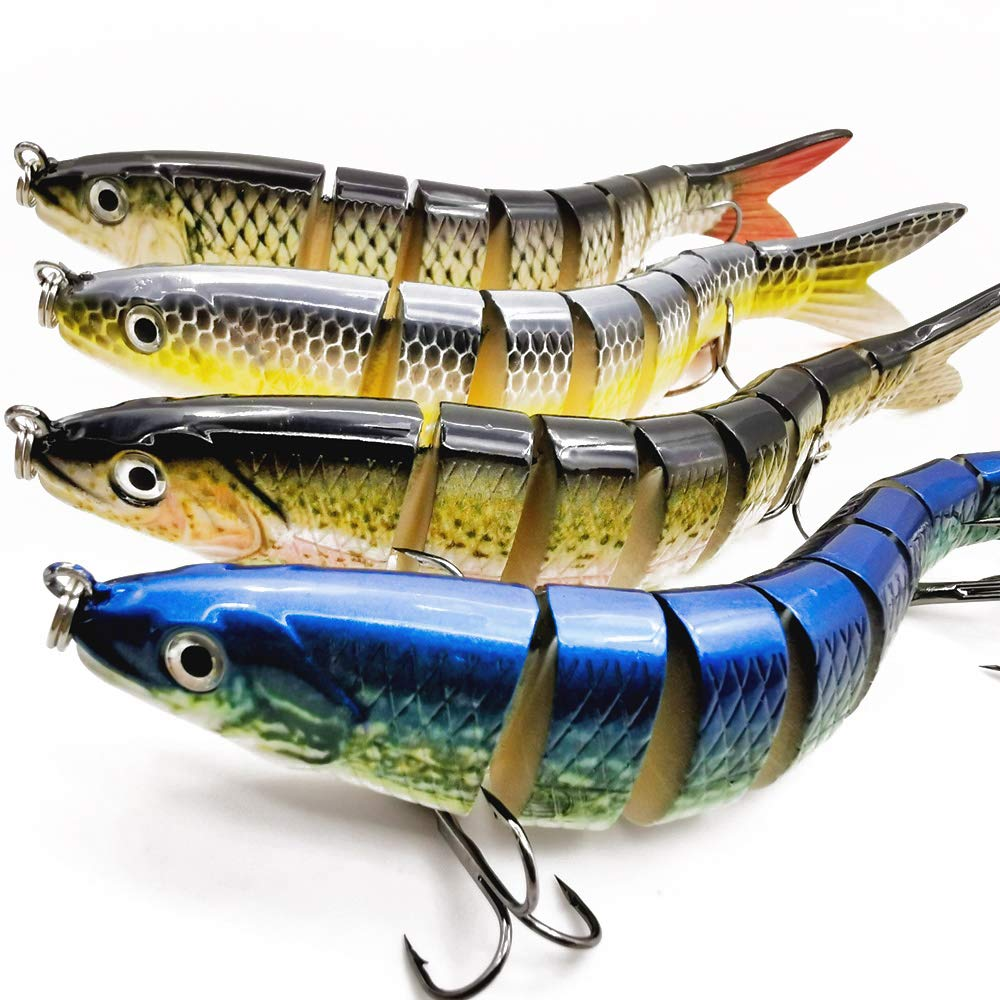 "motoeye Saltwater Fishing Lures Set for Bass & Trout, 5"" 4 pcs Lifelike Multi Jointed 3D Swimbaits with Rust-Proof Treble Hooks"