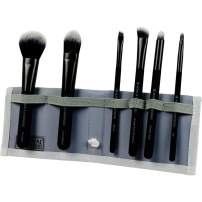 Royal & Langnickel MODA Travel Size Total Face Makeup Brush Set with Pouch, Includes - Powder, Foundation, Angle Shader, Smokey Eye, Brow Liner and Pointed Lip Brushes, Black